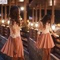 Colher Decote Curto Vestido de Roupas Femininas Vesttidos 2016A linha Lace Curto Prom Vestidos de Mangas Meia