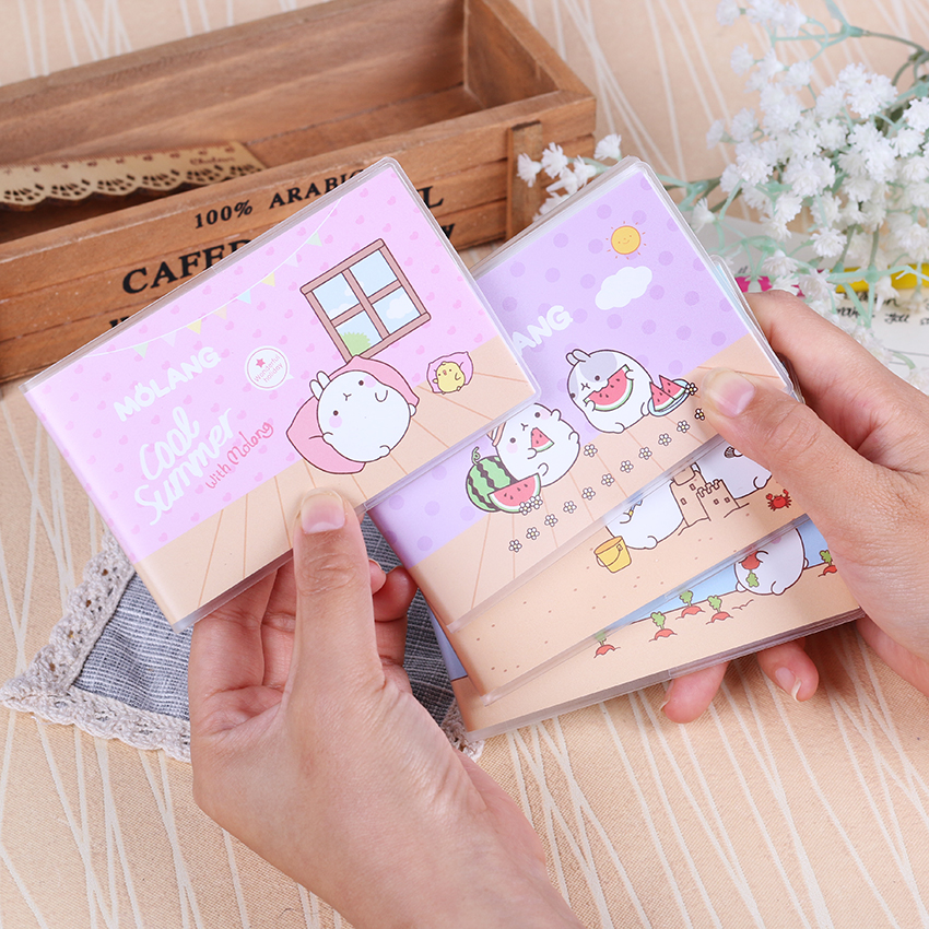 1PC Cartoon Mini Cool Summer Molang Rabbit Portable Small Plastic Small Diary Notebook Notepads School Supplies