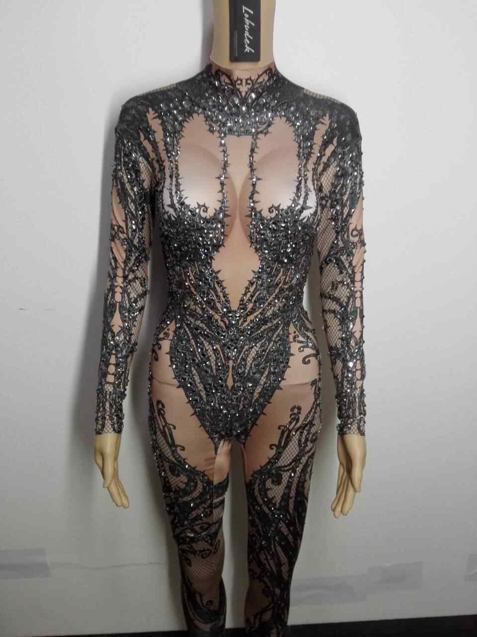 Полный алмаз сексуальный женский комбинезон трико Сияющий боди с кристаллами комбинезон со стразами клубный полюс танцевальное шоу сценические костюмы