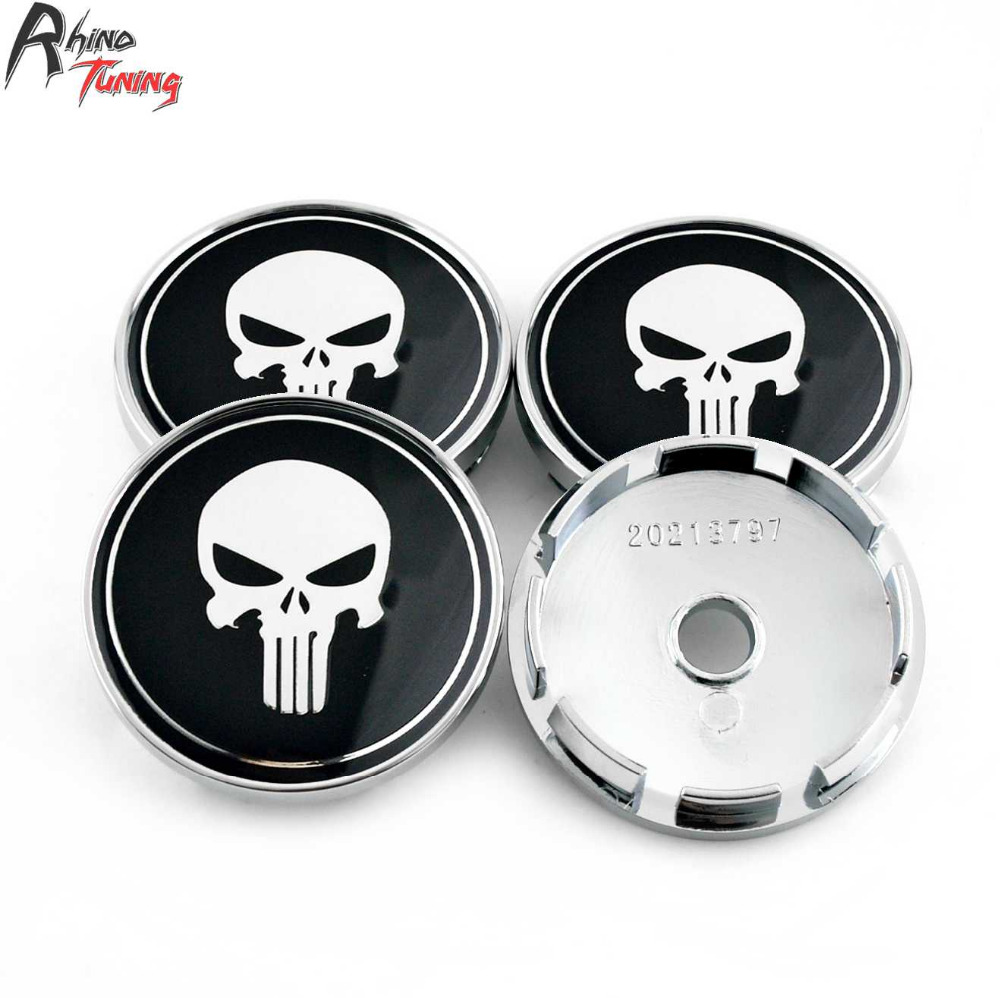 Rhino Tuning 4 Pc 60mm (56mm) Gothic De Punisher Schedel Auto Wielnaaf Center Caps Emblem Voor Rial Imola Wielen #206