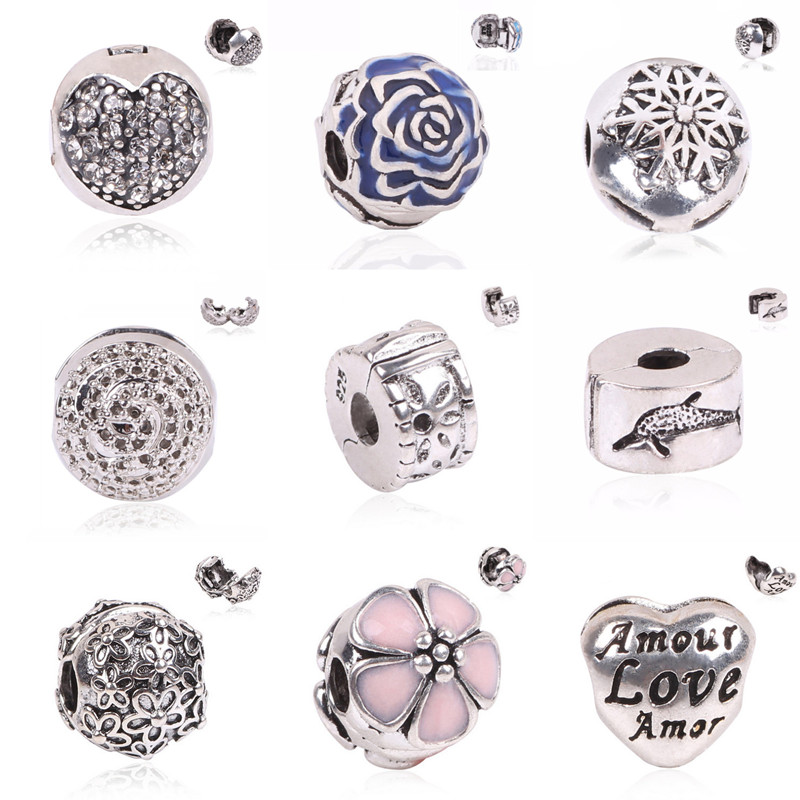 Free Shipping 1pc Jewelry 925 Bead Alloy Charm European Flower Stopper Bead Fit Pandora Bracelets & Bangles gift