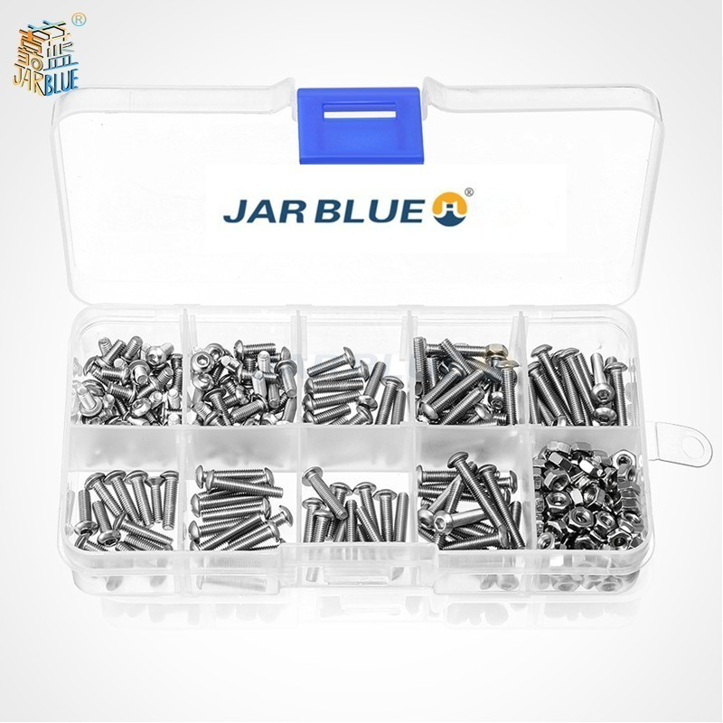 M3SS1 M3 Stainless Hex Socket Button Head Screws Allen bolt Nut Assortment Kit 340pcs