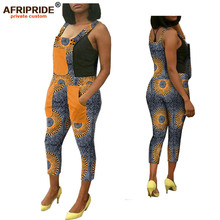 цена на 2019 spring&autumn african print overall pants for women AFRIPRIDE tailor made ankle length women casual overall pants A1821006