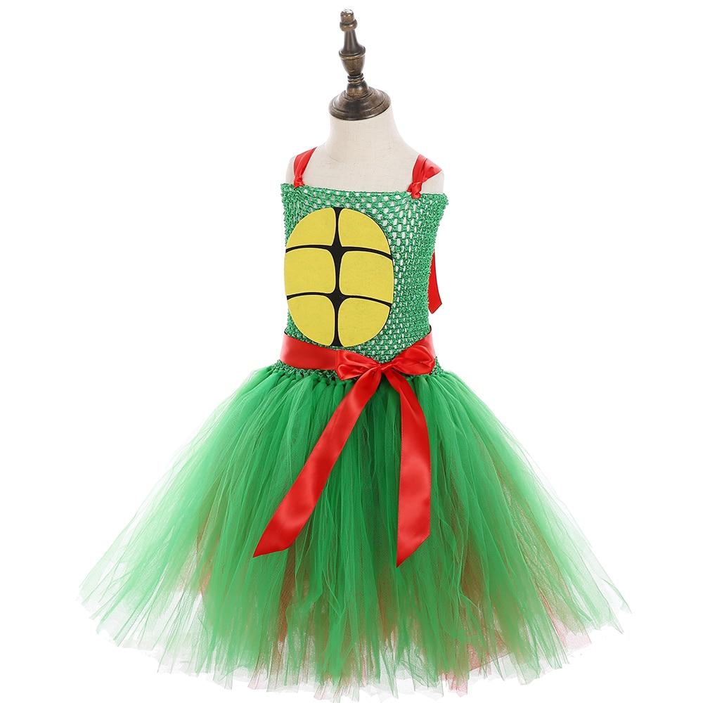 Girls Superhero Ninja Pattern Sleeveless Casual Party Dress Teenage Turtles Cosplay Halloween Tutu Dress Girls Custome Dresses in Dresses from Mother Kids