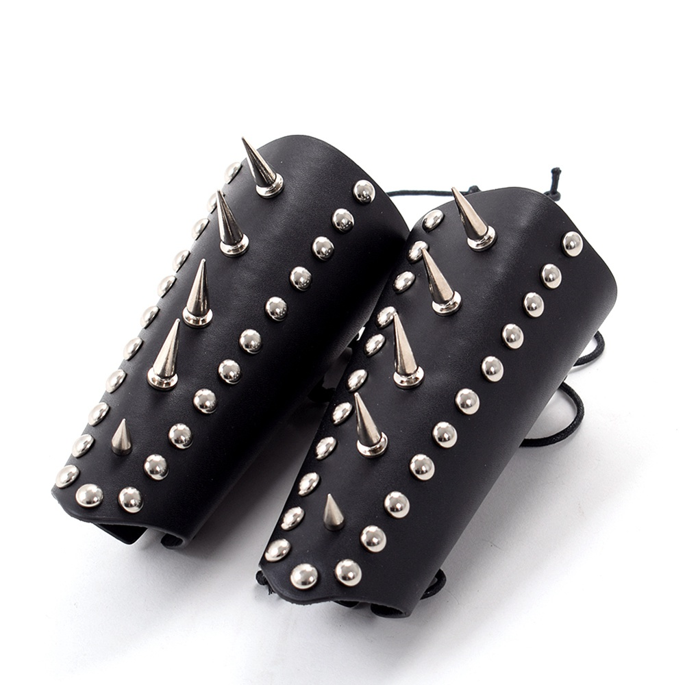 18cm Length 1pc Black Genuine Leather Rivet Armor Bracer Steampunk Medieval Gauntlet Armband For Men Cosplay