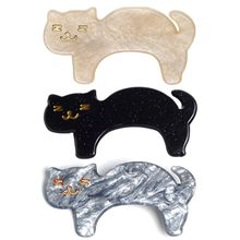Japanese Fresh Style Women Side Bangs Hair Clip Cute Meow Cat Acrylic Acetate Duckbill Hairpin Decorative Styling Accessory