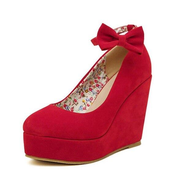 High Heels 2019 Rot Bogen Schuhe Frauen Keil Heels Flock Leder Pumpen Frühling Schwarz Keile Hochzeit Schuhe XY-A0307