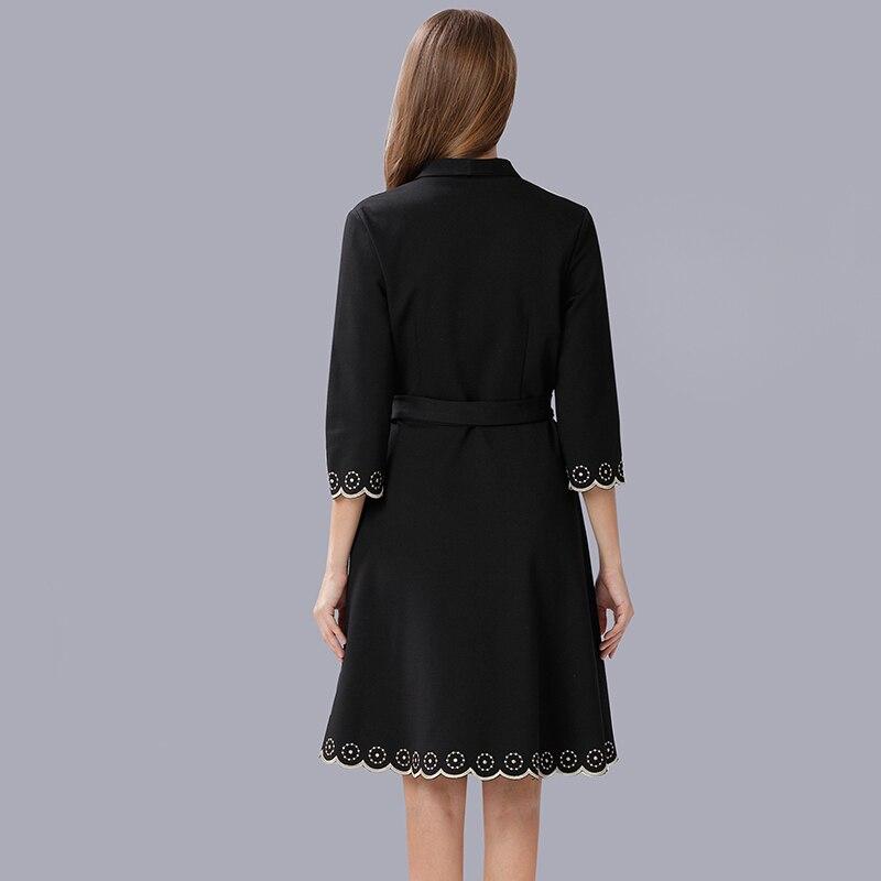 Sexy Vintage Dames Broderie Femmes Ceintures Vêtements Partie Robe Automne Noir Musenda Élégant Plus cou Taille Robes La Tricoté V q64yBwxyaf