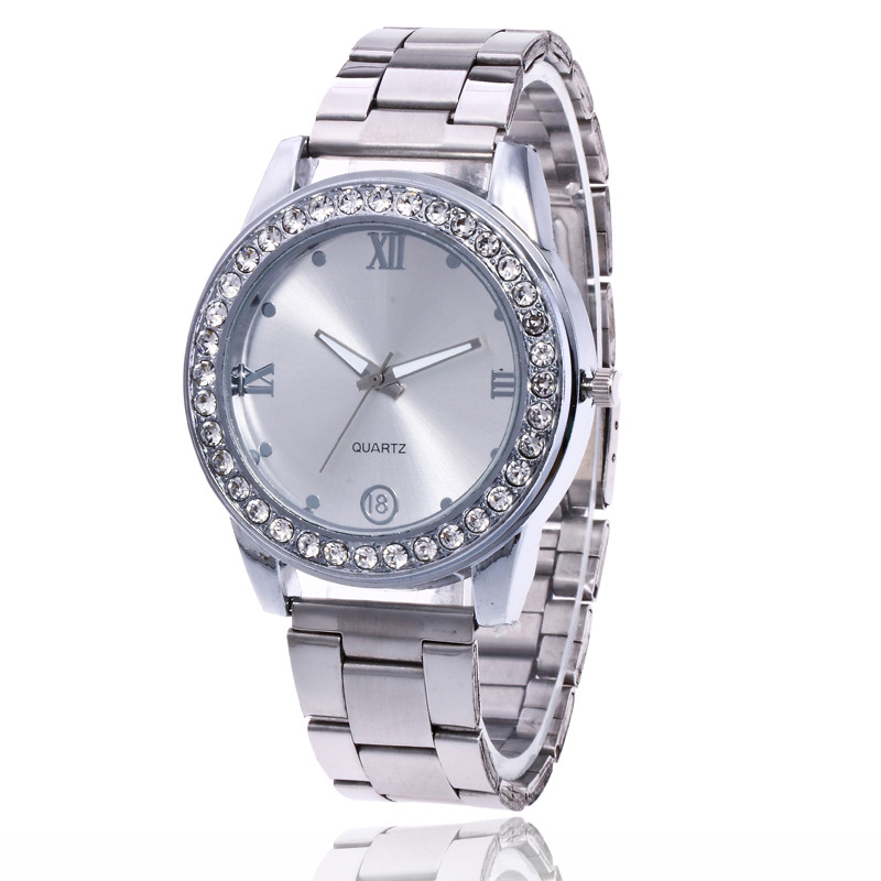 New Rhinestone Dial Bracelet Business Wrist Watch 2018 Luxury Stainless Steel Quartz Watch Men Women Dress Clock Dropshipping geneva men s large dial cool quartz stainless steel business wrist watch