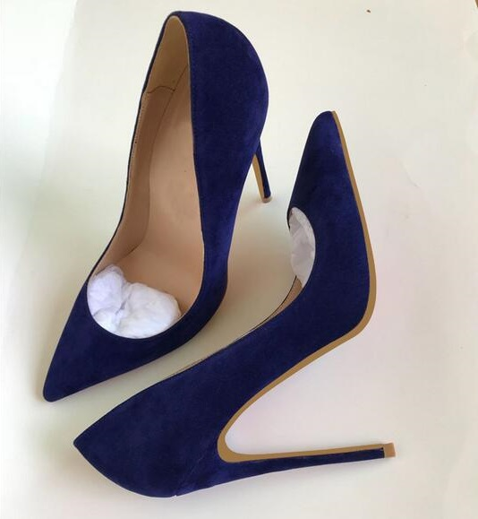 Fashion Blue Suede Stiletto Heels Pumps 120MM Pointed Toe Lady Dress Shoes Slip-on Office Dress Shoes Women 2018 Spring Pumps women pumps sexy office lady shoes extreme high heels stiletto suede shoes women heels fashion pointed toe pumps ladies shoes