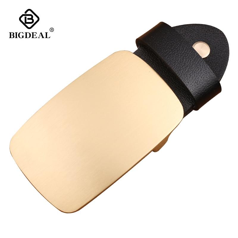 New Style Solid Brass Glossy Belt Buckle 5.4*7.9cm Rectangular Bronze Color Metal For 4cm Wide Belt Men Women Jeans Accessories