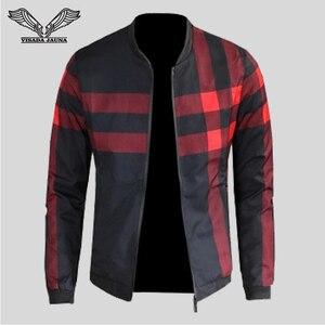 Image 2 - VISADA JAUNA 2020 Neue Ankunft männer Jacken Patchwork Casual Marke Kleidung Stehen Kragen Langarm Männlichen Outwear 5XL Plaid mantel