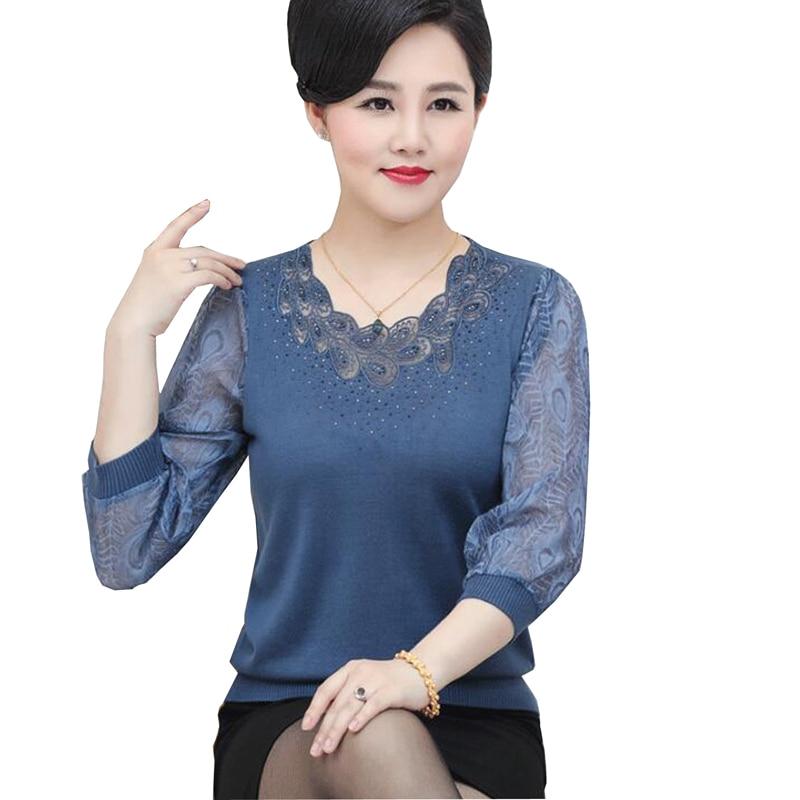 Eté hauts pour femmes 2018 moyen âge ajouré col rond tricot t-shirt mode lâche manches longues grande taille 3XL t shirt femmes
