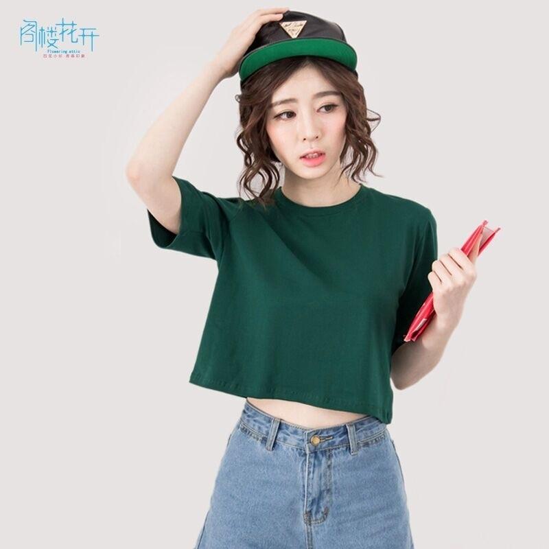Gelouhuakai Harajuku T Shirt Korean Kpop Fashion Cotton Loose Crop Top Kawaii T Shirt Women Tops