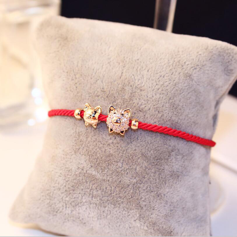 Cute Pig Adjueable Bracelet Braided Bracelets Waven Lucky Red Rope Chain Rose Gold Color Bangles Jewelry