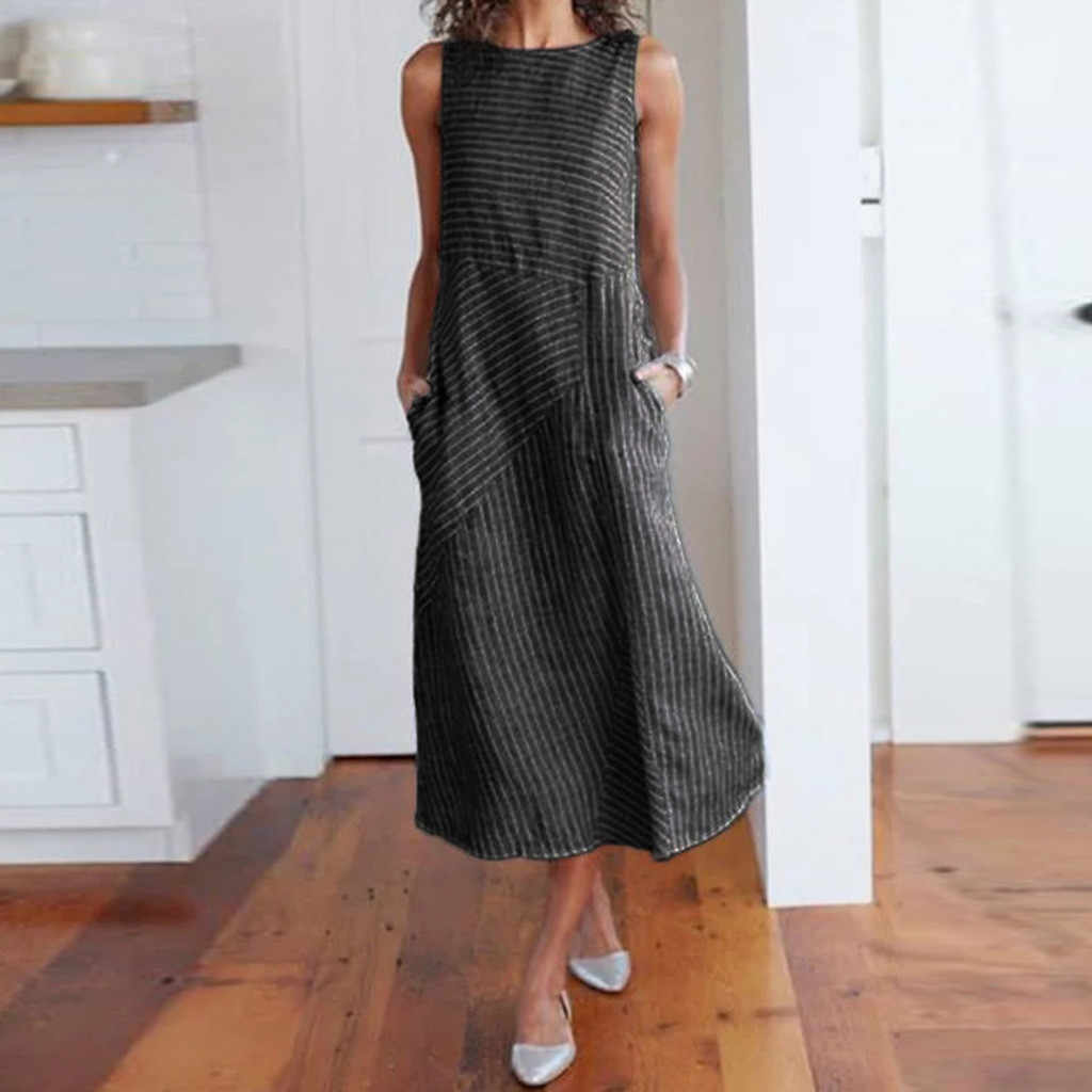 Feitong 2019 ホット販売!! ファッションシンプルなスウィート女性のカジュアルストライプノースリーブドレスクルーネックリネンポケットロングドレス Vestidos
