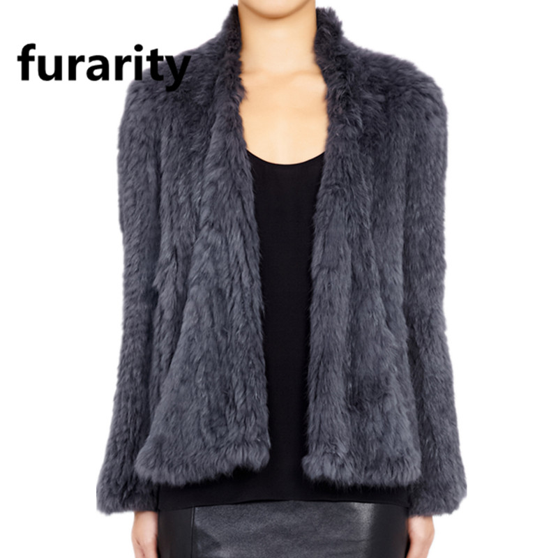 J0013 Australia New Real Colors Thick Knitted Actual Rabbit Fur Jacket Girls Winter Heat Style / Woman Fur Coat