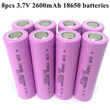 Factory Price 8pcs/lot Original 2600mAh 18650 Batteries 3.7V Li-ion Rechargeable Batteries for Flashlight Power Bank