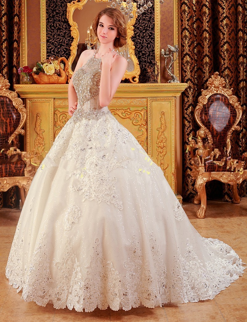 Marriage ornaments - Wedding Dresses 2017 Lace Up Sleeveless Crystal Ornaments Bridal Gowns Halter Beading Court Train Appliques Bowknot