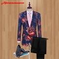2019 Printed Groom Tuxedos Fire red Groomsman Suit Custom Made Man Suit Stage Wear wedding suit Man Blazers and Black pants