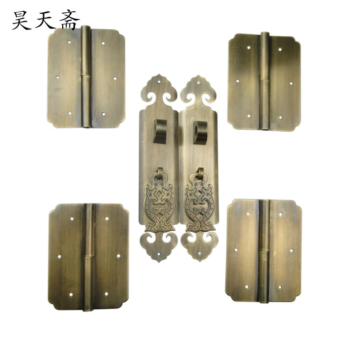 [Haotian vegetarian] shoe Chinese antique bookcase cabinet door handle kit wishful money european modern bronze doors handle chinese antique glass door handle door handle carving