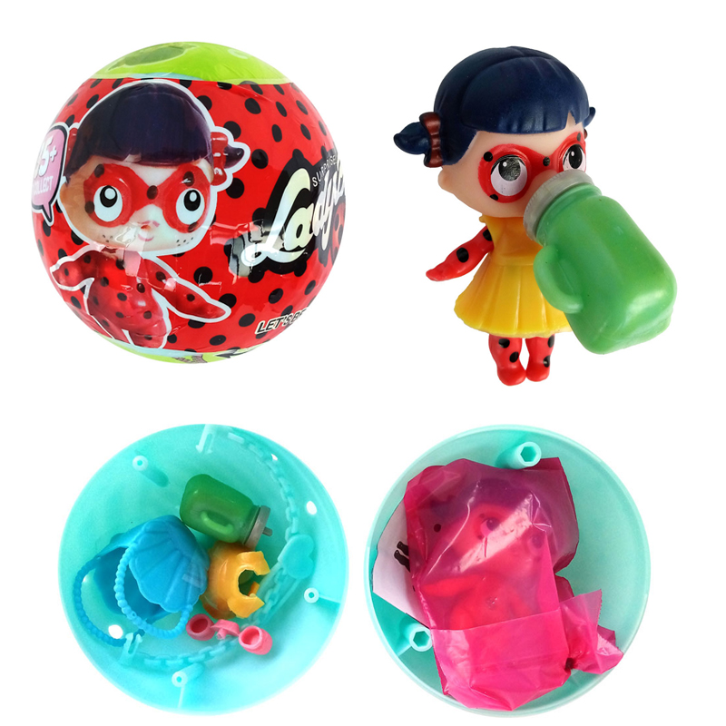 Surprise egg ball miraculous ladybug doll can spray water toys cartoon series action figure toys - Ladybug watering can ...