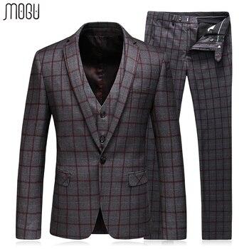 MOGU Three Piece Plaid Casual Suits Men 2017 Autumn New Lattice Wedding Dress For Men Slim Fit Mens Suit Asian Size 3XL Men Suit