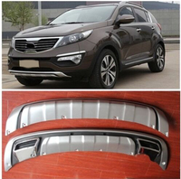 For KIA Sportage R 2011 2012 2013 High quality plastic ABS Chrome Front+Rear bumper cover trim