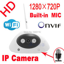 freeshipping audio ip camera 720P hd Wireless wifi dome cameras infrared mini cctv systems security door home video indoor white
