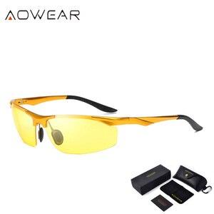 Image 3 - Aowear男性の偏ナイトビジョンメガネ駆動ゴーグルアルミ黄色サングラス男性高品質のドライバー眼鏡