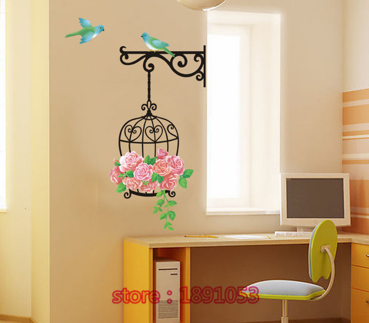 Plants Flower And Bird Designs Wall Stickers Living Room Bedroom Marriage TV Sofa Backdrop Entrance Decorative