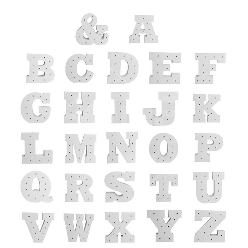 Wooden A Z Alphabet Letter LED Light Bulbs Lamp Light Up Decoration ...
