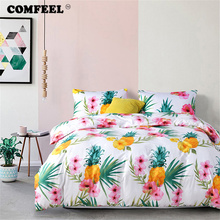 COMFEEL Home Textile Flower Print Comforter Bedding Sets 3pcs Cotton Kids Bed Quilt Cover with Pillowcases King Size Duvet Set