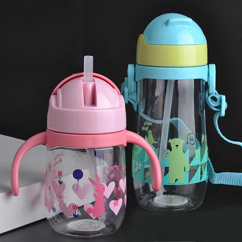 230/450ML Feeding cup Baby bottle with straw Portable Rope spill proof children Cup plastic bottle for kids drinking water copo