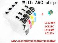 4 cartucho de tinta recarregável da tinta lc123 bk c m y para impressoras do irmão MFC-J6520DW/MFC-J6720DW/MFC-J6920DW com microplaqueta permanente