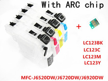 4 ink LC123 BK C M Y refillable Ink cartridge for Brother MFC-J6520DW/MFC-J6720DW/MFC-J6920DW printers with permanent chip(China (Mainland))