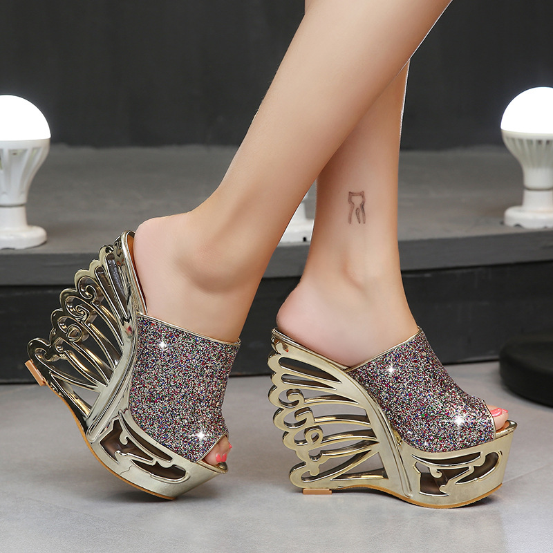 Image 2 - STAN SHARK Sexy High Heel Slope Gold Silver Personality Shaped Wedding Shoes Bridal Shoes 15 Cm Sandals Slippers-in High Heels from Shoes