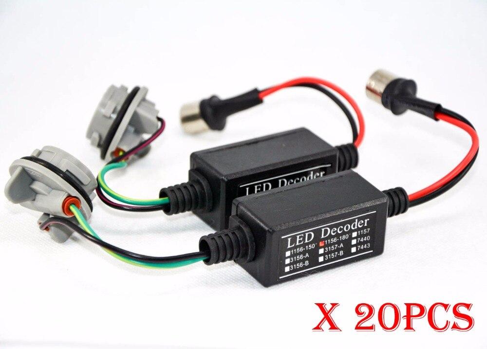 20PCS 3156 3157 LED Bulb Power 8W Error Free Canbus Canceler Adapter Decoder Fog Turn Brake Signal Anti-Hyper Flashing Blinking
