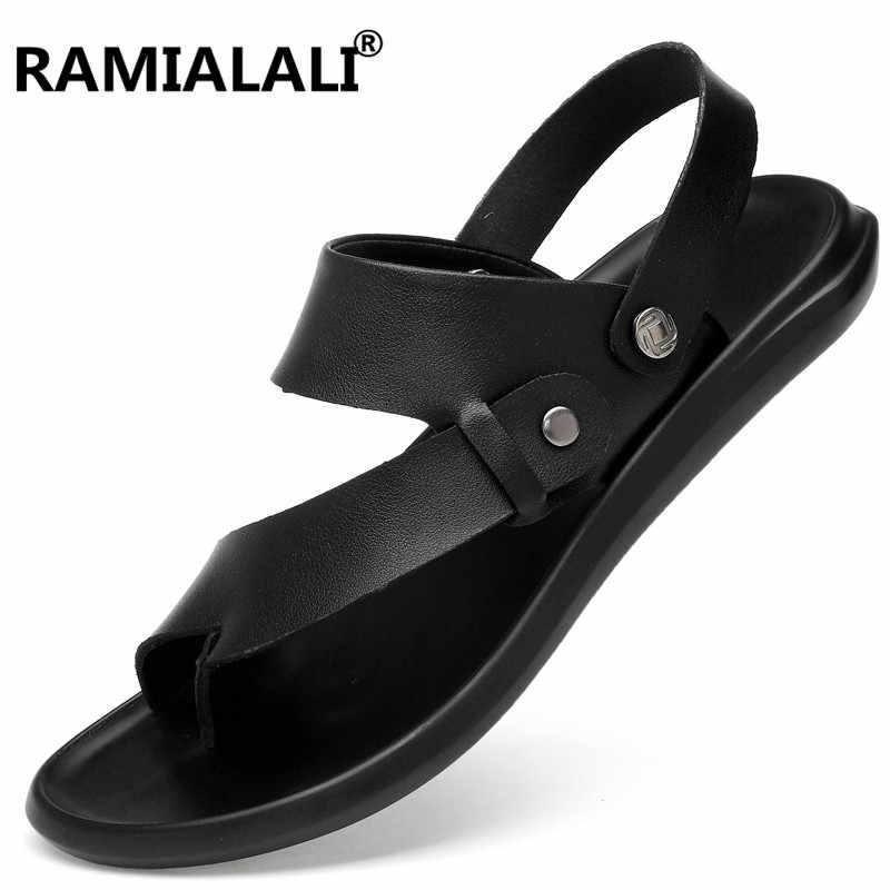 d0874f00ba49c Black Mens Shoes Cow Split Leather Men Sandals Summer Slipper Real Leather  Men Beach Sandals Gladiator