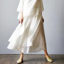 QPFJQD Autumn Spring Women Retro Skirt Casual Chinese Style Female Waist