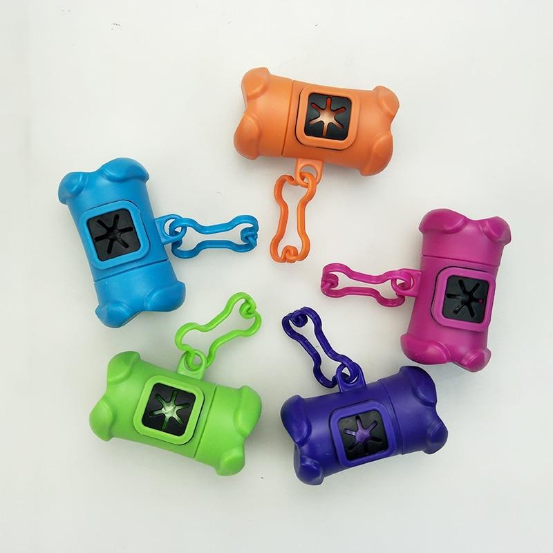 Dropshipping Travel Pet Waste Bag Plastic Dog Poop Bag Dispenser Holder Poo Bags Bone-shape Send 1 Roll Of Pouch