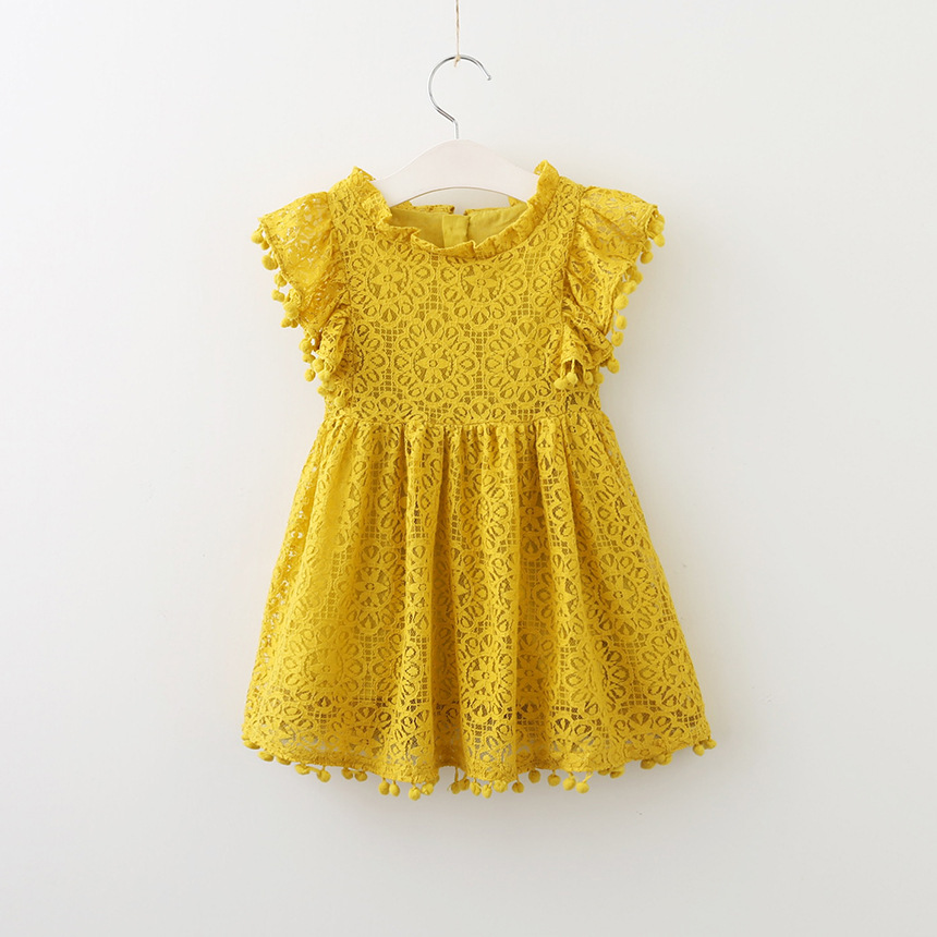 Adorable baby girls dress vintage lace tassel beach dress