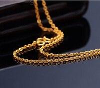 Чистый насыщенный 24 К желтого золота цепи Цепочки и ожерелья/гладкой o цепи Цепочки и ожерелья/2.70 г