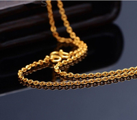 Pure Solid 24K Yellow Gold Chain Necklace/ Smooth O Chain Necklace/ 2.70g