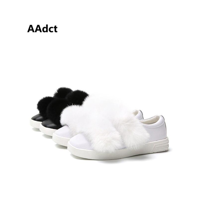 AAdct 2017 Musim Gugur gadis sepatu flat Lucu kelinci rambut kasual sepatu anak-anak Merek Berkualitas Tinggi