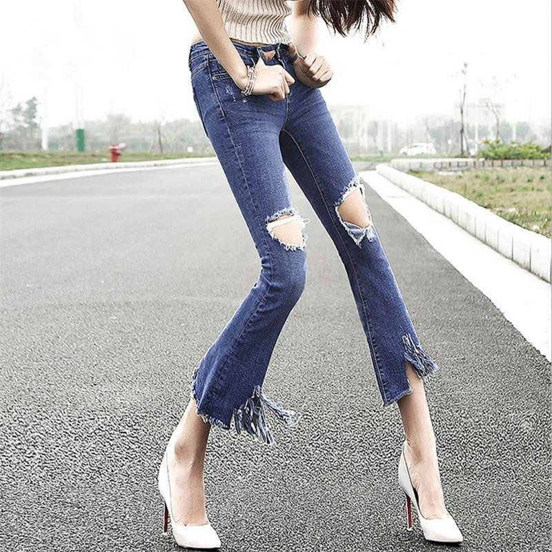 Low-cost high-quality explosion models 2016 autumn new Ms. nine points Weila pants low-waist jeans women sexy hole bell-bottoms simple low cost electronics projects