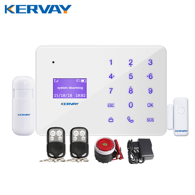 Kervay 433mhz Wireless Remote Control Home Security Alarm System IOS Android APP Smart Voice Burglar GSM Alarm System
