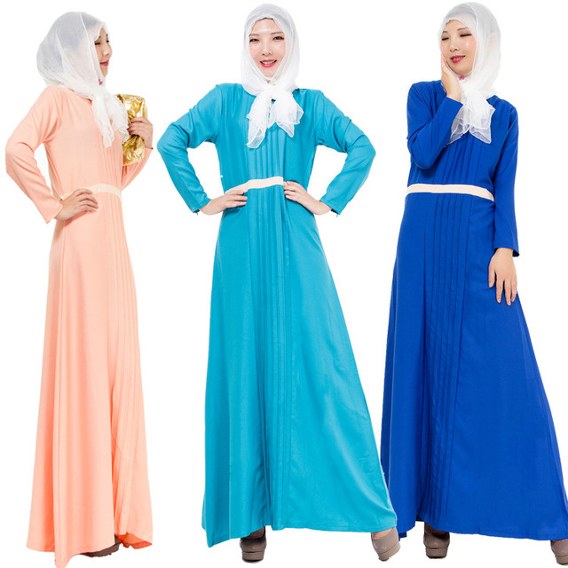 3 Colors Women Islamic Clothes Adult Muslim Worship Abayas Malaysia Dubai Turkish Lady Clothes Long Dress for Girl