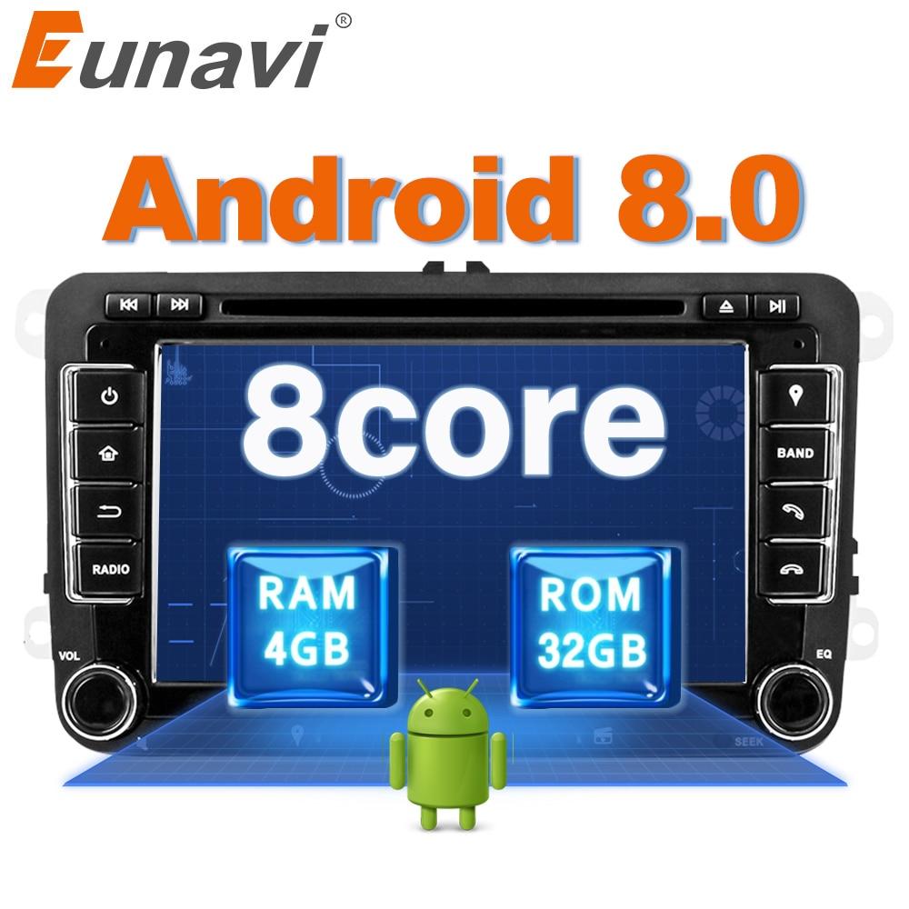 Eunavi Octa base Android 8.0 2 Din Voiture lecteur dvd Pour VW GOLF JETTA POLO TOURAM PASSAT B6 GPS Navi Stéréo radio écran tactile usb