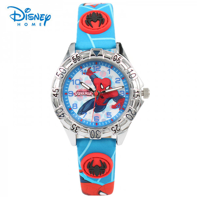 100% Genuine Disney Cartoon Spiderman Watches Fashion Children Boys Kids Students Spider-Man Sports Watches Wristwatch